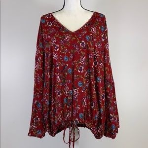 Angie Floral Bell Sleeve Rayon Top Size 3X